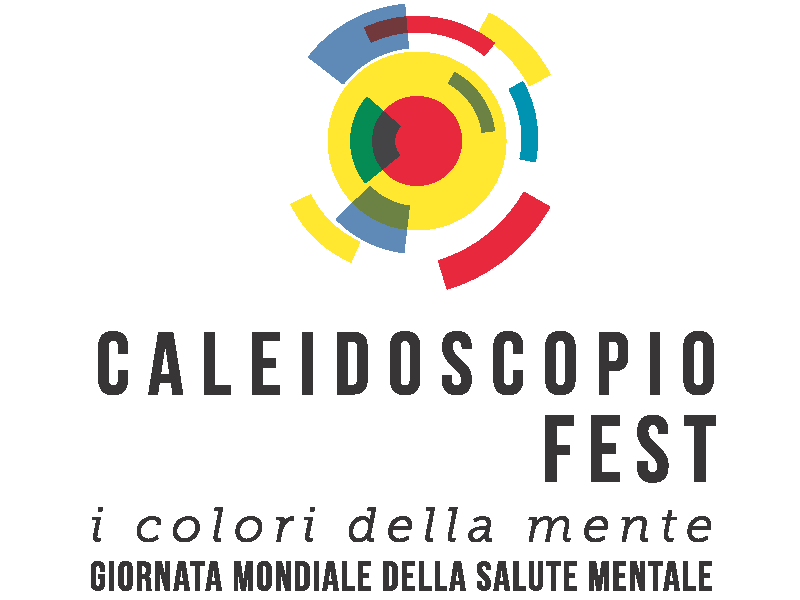 """Una girandola stilizzata, simbolo di Caleidoscopio fest. Al di sotto il nome dell'evento e la scritta """"giornata mondiale della salute mentale"""""""